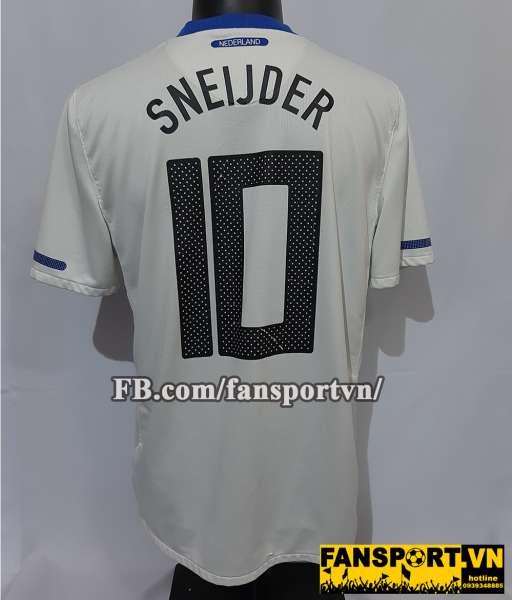 Áo đấu Sneijder #10 Netherland 2010-2011-2012 away shirt white Holland