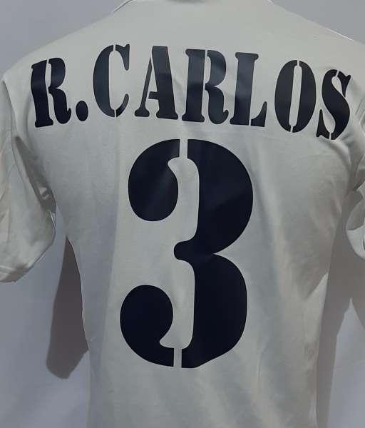 Font R.Carlos #3 Real Madrid 2001-2002-2003 home shirt blue nameset