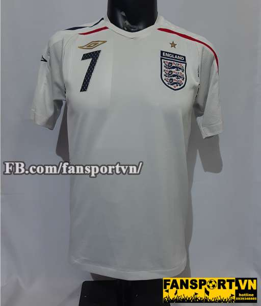 Áo đấu Beckham #7 England 2007-2008-2009 home shirt jersey white