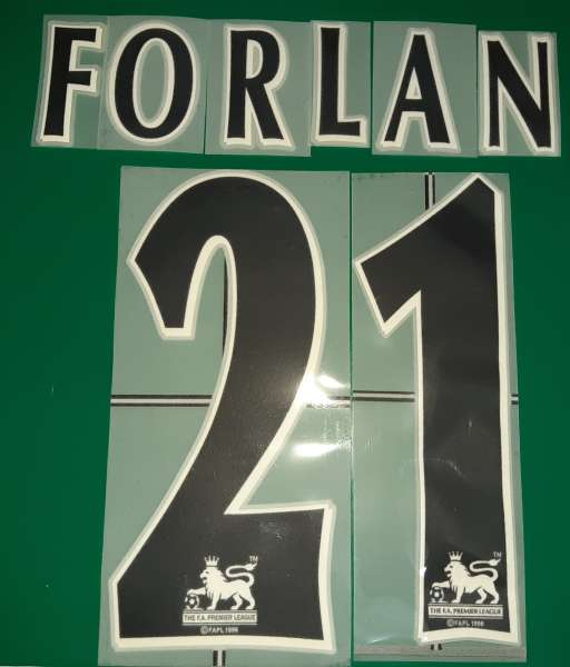 Font Forlan #21 Manchester United Premier League black nameset lextra
