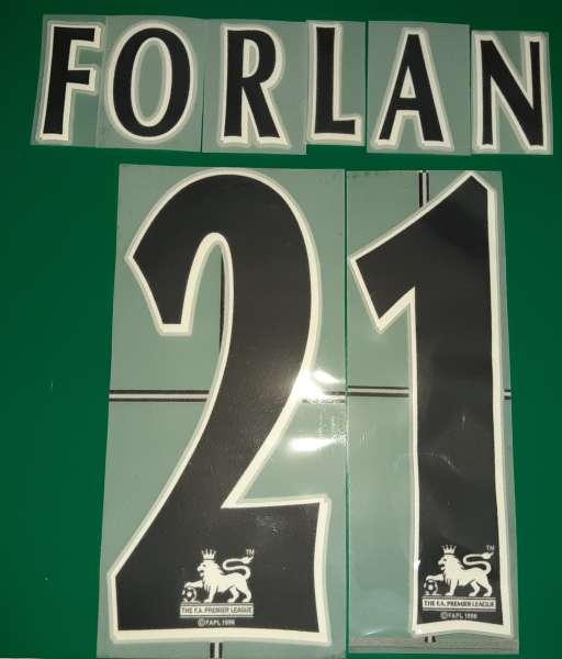 Font Forlan #21 Manchester United Premier League black nameset lextra