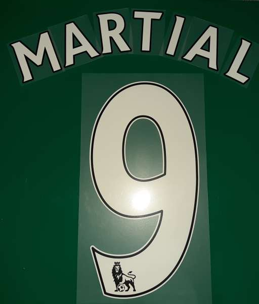 Font Martial #9 Manchester United Premier League home nameset white