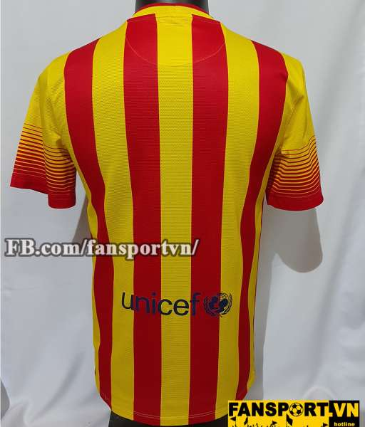 Áo đấu Barcelona 2013-2014 away shirt jersey yellow red