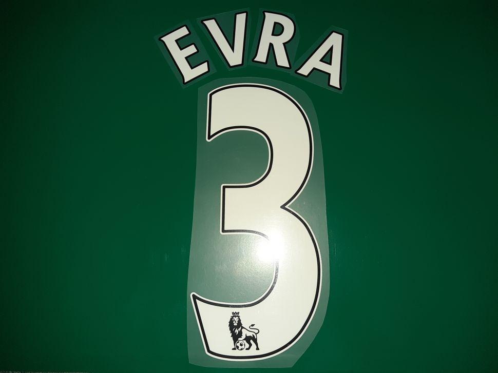 Font Evra #3 Manchester United Premier League 2007-2017 white nameset