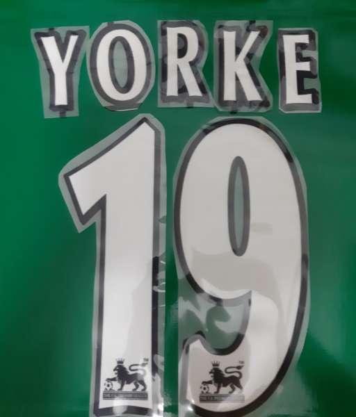 Font Yorke #19 Manchester united Premier League 1997-2007 white
