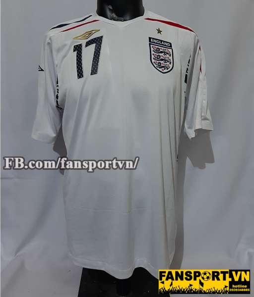 Áo đấu Beckham #17 England 2007-2008-2009 home shirt jersey white