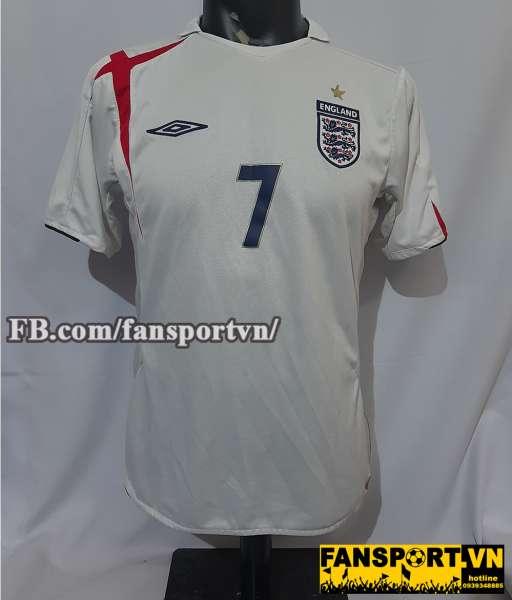 Áo đấu Beckham #7 England 2005-2006-2007 home shirt jersey white