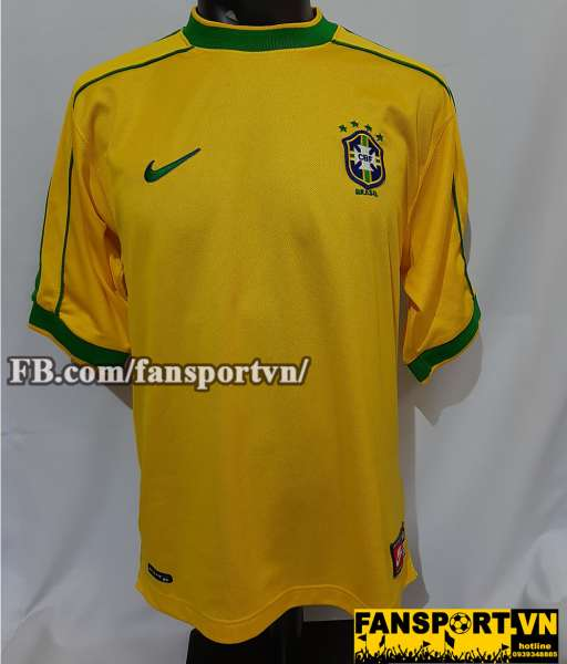 Áo đấu Brazil 1998-1999-2000 home shirt jersey yellow