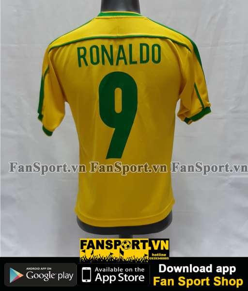 Áo đấu Ronaldo #9 Brazil 1998-1999-2000 home shirt jersey yellow
