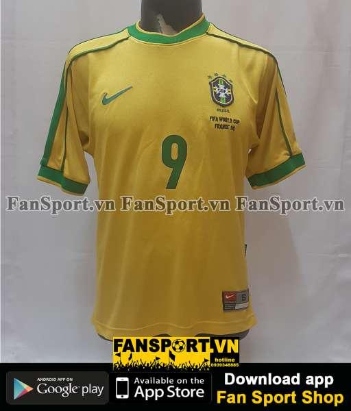 Áo Ronaldo #9 Brazil World Cup 1998 home shirt jersey yellow 1999-2000