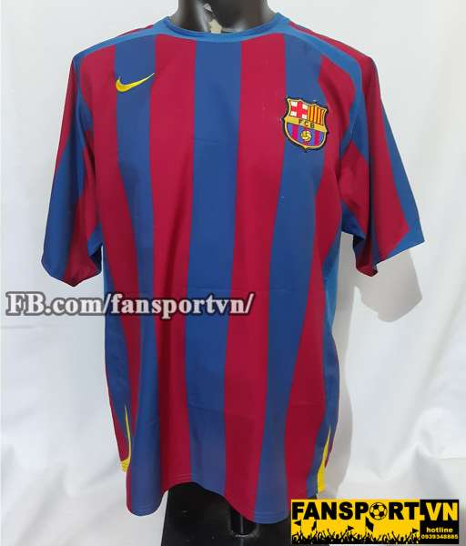 Áo đấu Barcelona 2005-2006 home shirt jersey red blue