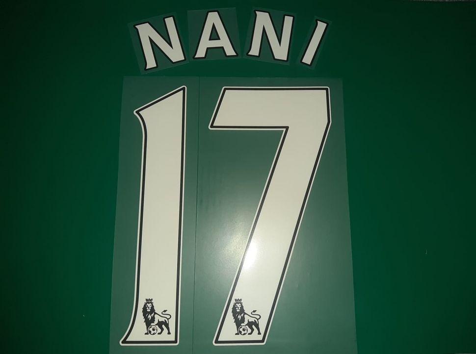 Font Nani #17 Manchester United 2007-2017 white nameset home away