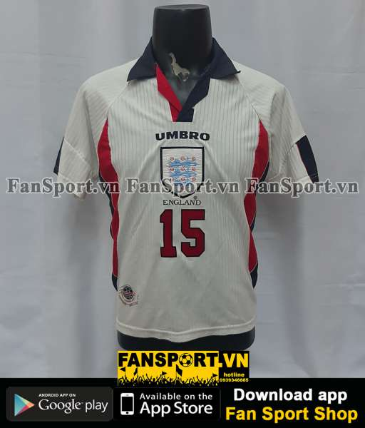 Áo đấu #15 England 1997-1998-1999 home shirt jersey white
