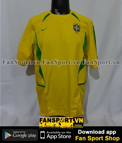 Áo đấu Brazil 2002-2003-2004 home shirt jersey yellow