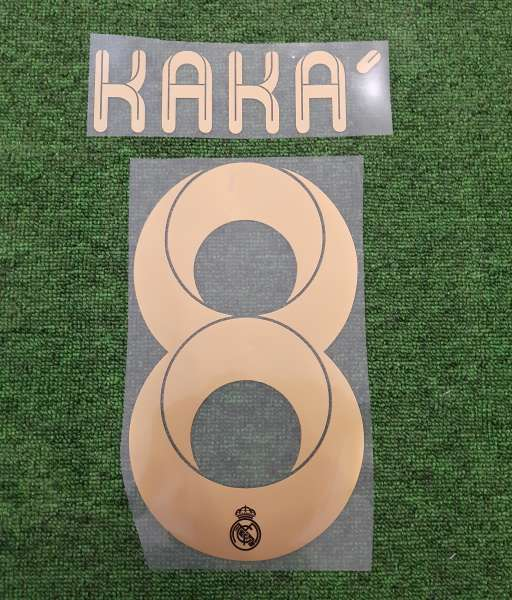 Font Kaka #8 Real madrid 2011-2011 home cup yellow nameset