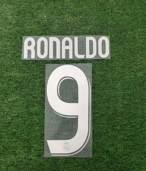 Font Ronaldo #9 Real Madrid 2006-2007 away white nameset