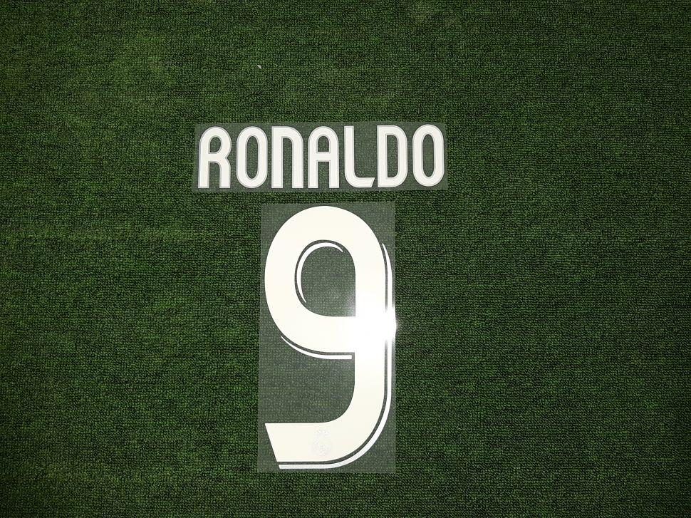 Font Ronaldo #9 Real Madrid 2006-2007 away white nameset