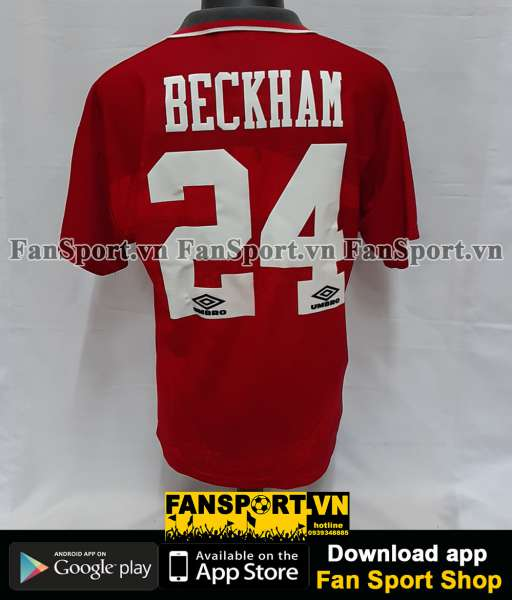 Áo đấu Beckham #24 Manchester United 1994-1995-1996 home red shirt