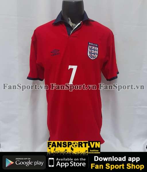 Áo đấu Beckham #7 England 1999-2000-2001 away shirt jersey red
