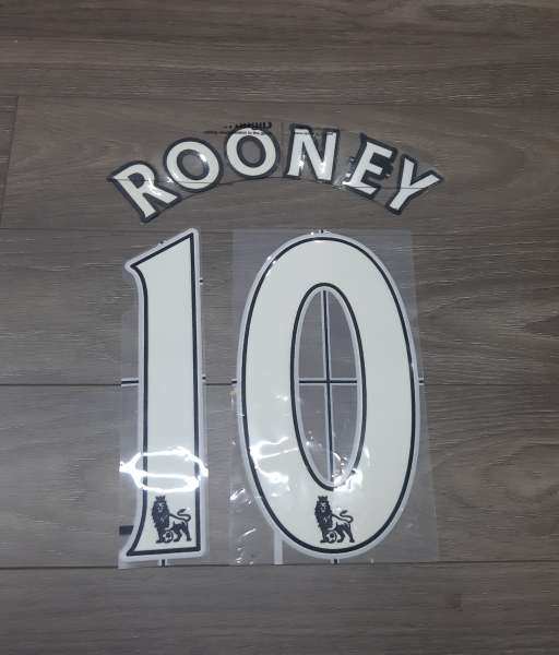 Font Rooney #10 Premier League 2007-2017 white lextra official nameset