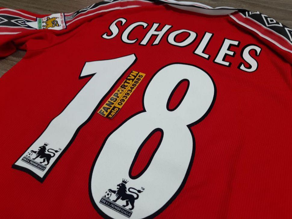 Áo đấu Scholes #18 Manchester United 1998-1999-2000 home shirt jersey
