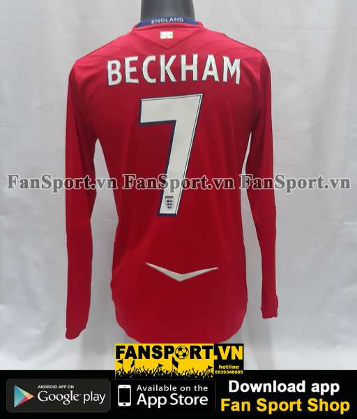 Áo đấu Beckham #7 England 2008-2009-2010 away 100th cap vs France long