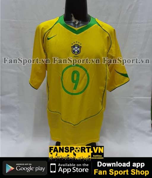 Áo đấu Ronaldo #9 Brazil 2004-2005-2006 home shirt jersey yellow
