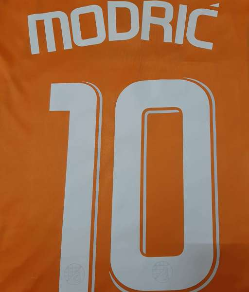 Font Modric #10 Dinamo Zagreb 2007-2007-2009 away orange nameset