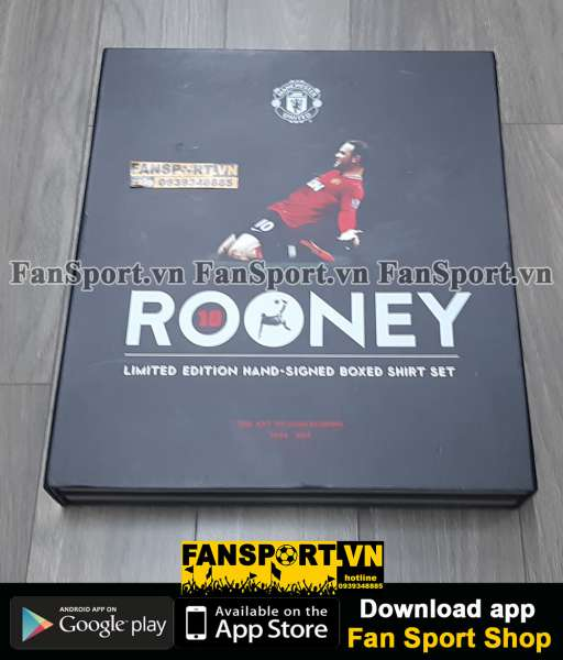 Box 333/400 áo Manchester United Rooney 400 match hand signed limited