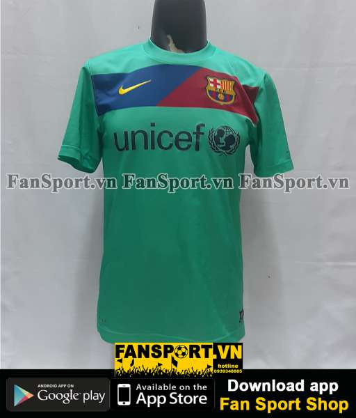 Áo Messi #10 Barcelona 2010-2011 away shirt jersey blue green 2012
