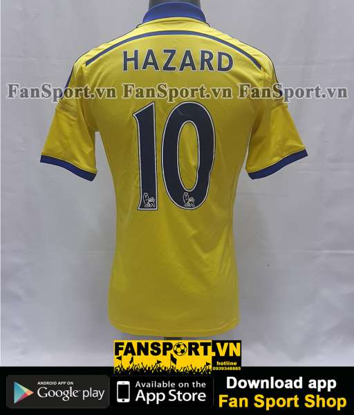 Áo đấu Eden Hazard #10 Chelsea 2014-2015 away yellow shirt jersey