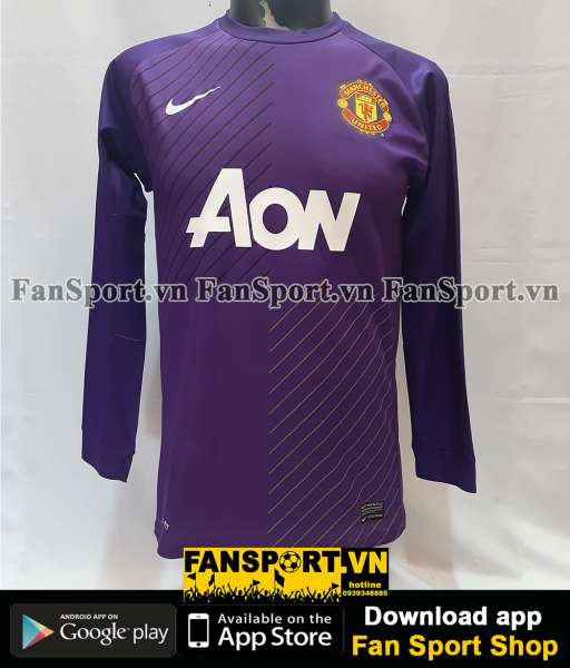 Áo De Gea #1 Manchester United 2013-2014 third goalkeeper gk purple