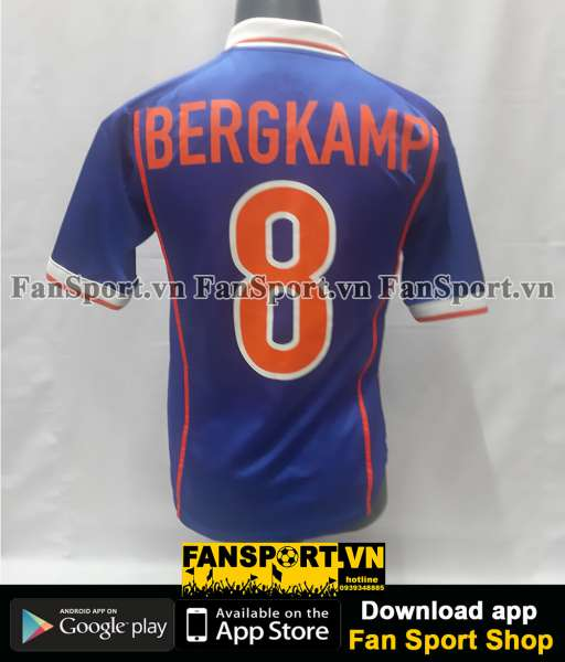 Áo Bergkamp 8 Netherland World Cup1998 away Holland 1999-2000 shirt