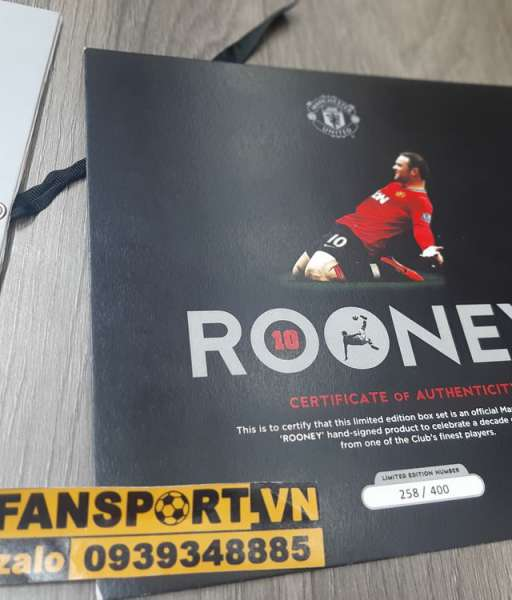 Box 258/400 áo Manchester United Rooney 400 match hand signed limited