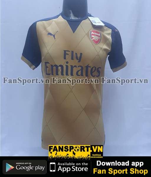 Áo đấu Arsenal 2015-2016 away shirt jersey yellow brown BNWT