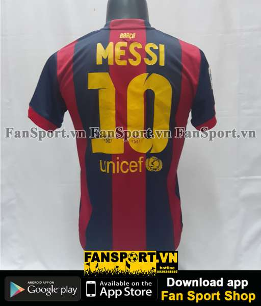 Áo Messi #10 Barcelona 2014-2015 home shirt jersey red blue