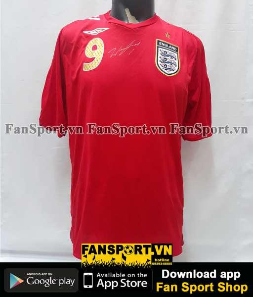 Áo chữ ký Rooney #9 England 2006-2007-2008 away shirt jersey red BNWT