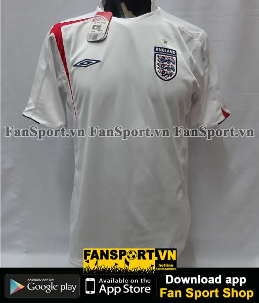 Áo đấu England 2005-2006-2007 home shirt jersey white World Cup BNWT