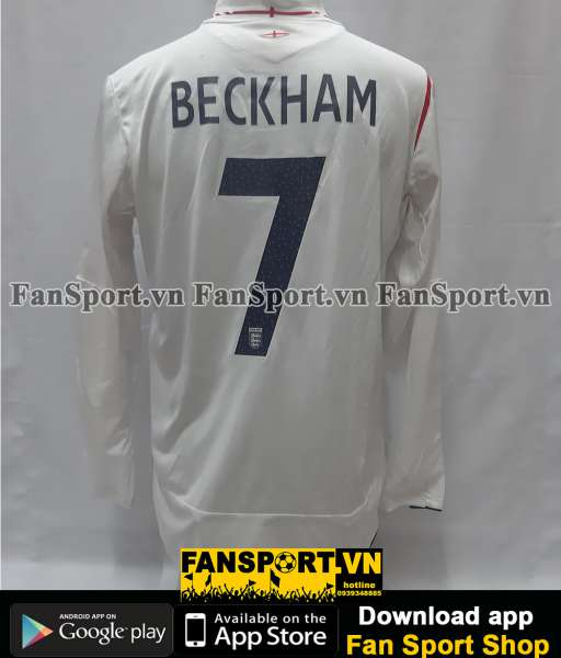 Áo đấu Beckham #7 England 2005-2006-2007 home shirt jersey white long