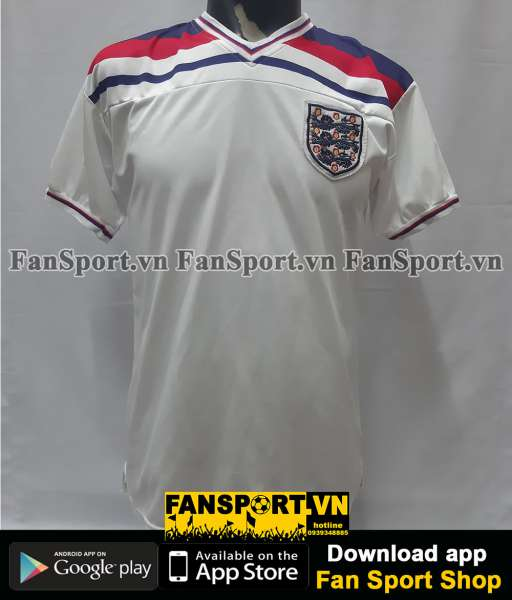 Áo đấu England 1980-1981-1982-1983 home shirt jersey white World Cup