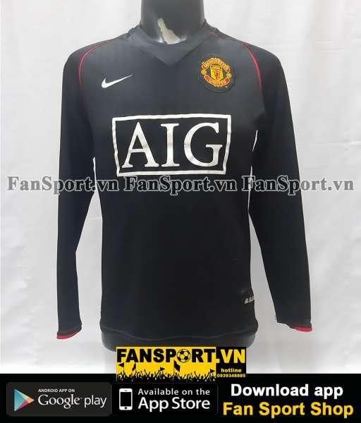 Áo Manchester United 2007-2008 away shirt jersey black long sleeves
