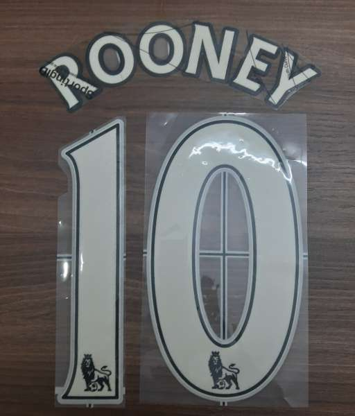 Nameset Rooney 10 Premier League 2007-2013 white font lextra velvet