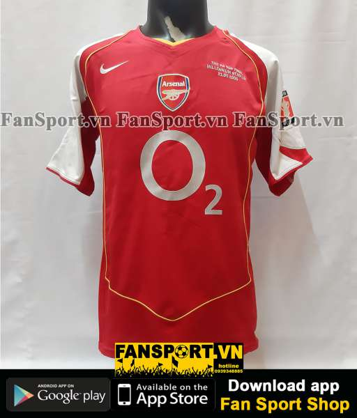 Áo đấu Arsenal FA Cup final 2005 home shirt jersey red 2004