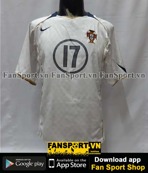 Áo đấu Ronaldo 17 Portugal 2004-2005-2006 away shirt jersey white