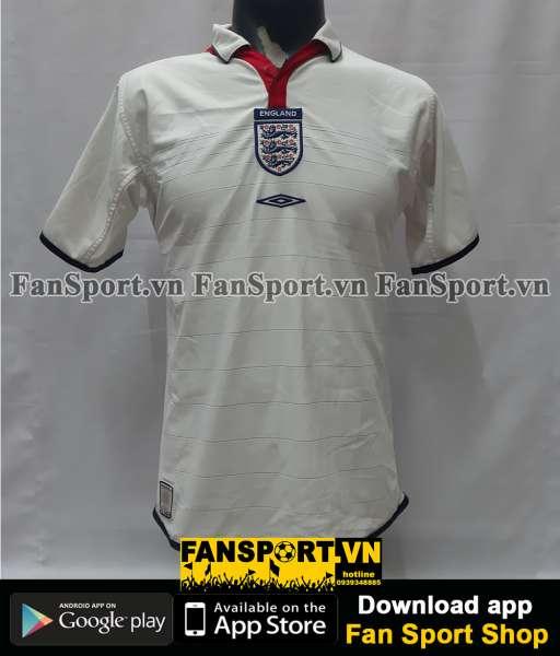 Áo đấu England 2003-2004-2005 home shirt jersey white Euro