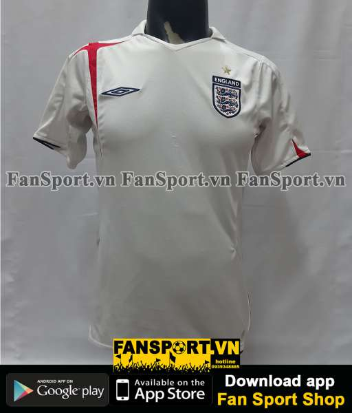 Áo đấu England 2005-2006-2007 home shirt jersey white World Cup