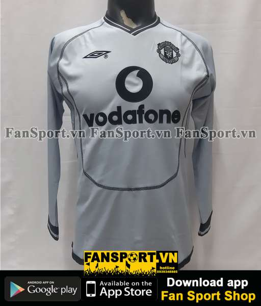 Áo GK Manchester United 2000-2001 away shirt jersey grey goalkeeper