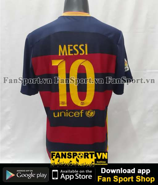 Áo đấu Messi #10 Barcelona 2015-2016 home shirt jersey red blue