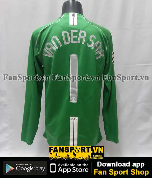 Áo GK Van Der Sar 1 ManUtd Champion League Final 2008 green goalkeeper