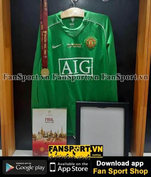 Áo GK Van Der Sar 1 ManUtd Champion League Final 2008 green goalkeeper
